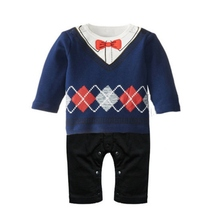 Toddler Baby Boy Gentleman Long Sleeve Romper Printed Jumpsuit Clothes Outfit Best
