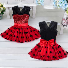 2016 Toddler Kids Baby Girls Red Minnie Polka Dots Bow Sequins Princess Party Pageant Wedding Tulle Tutu Flower Tee Dresses 1-4T