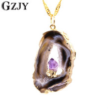 GZJY Natural Stone Pendant Necklace Healing Fashion Purple Crystal Different Shapes Pendant For Women F15-3(China)