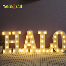 Meaningsfull 2017 Marquee Sign 26 Letters Led Night Lights Alphabet Hanging Wall Lamps For Wedding Party Xmas Indoor Room Decor(China)