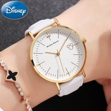 Disney Clock Authentic Mickey Mouse Cutie Women Simple Ultrathin Original Leather Girl Boy Favorite Student Love Quality Watches(China)