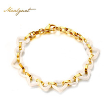 Meaeguet Women Fashion Bracelets Stainless Steel Gold White Ceramics Circle Heart Tennis Bracelet Young Girl Trendy Jewelry 2017