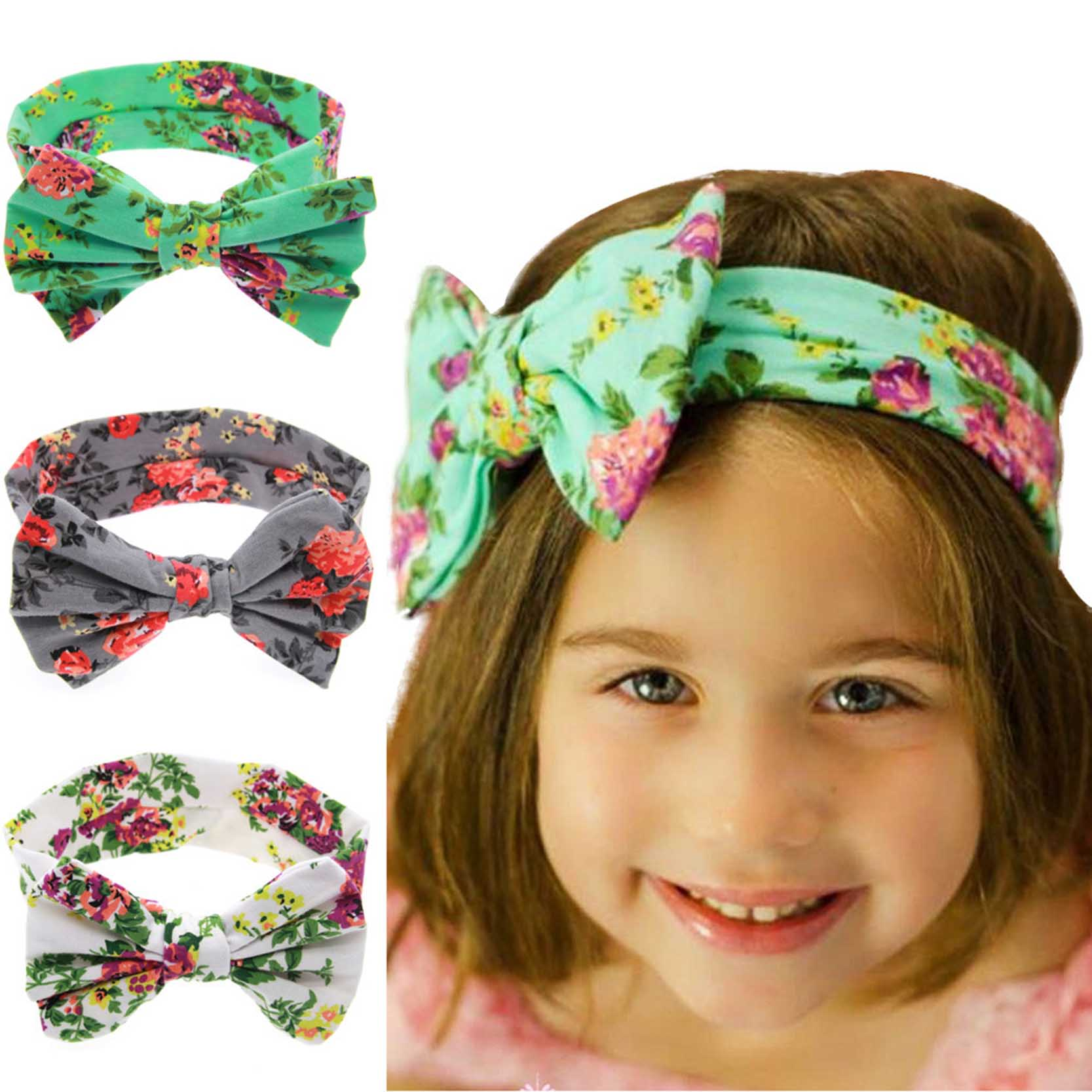 3 Colors Bow Shaped Baby Girl Hair Accessiories Newborn Infant Headband Floral Printed<br><br>Aliexpress