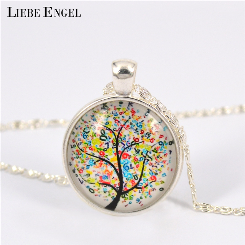 LIEBE ENGEL Vintage Life Tree Necklace Fashion Glass Cabochons Statement Necklace Silver Color Jewelry for Women Gift Sweater(China)