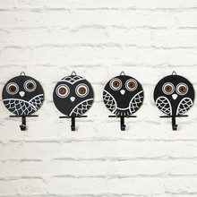 PINJEAS 3PCS Vintage Owl Art Decor Hooks Clothes/Hat Hanger Hook Coffee/Bar Wall Decorations Dimensional Animal Mural Home Racks