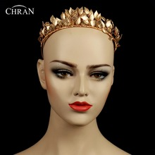 Chran Greek Goddess Leaf Crown Baroque Queen Gold Color Crown Tiara Wedding Bridal Headband Hair Accessories Hairpiece CRH602