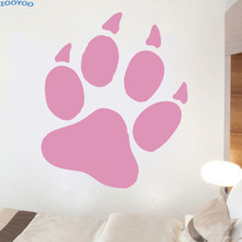 ZOOYOO Large Size Dog Paw Print Wall Sticker Animal Pets Shop Wall Decals Home Decor Children Kids Room Decoration(China)