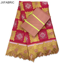 JXFABRIC African Swiss Voile Lace Fabric With Matching Gele Aso Oke Headtie 2017 Nigerian Wedding Dress High Quality(China)