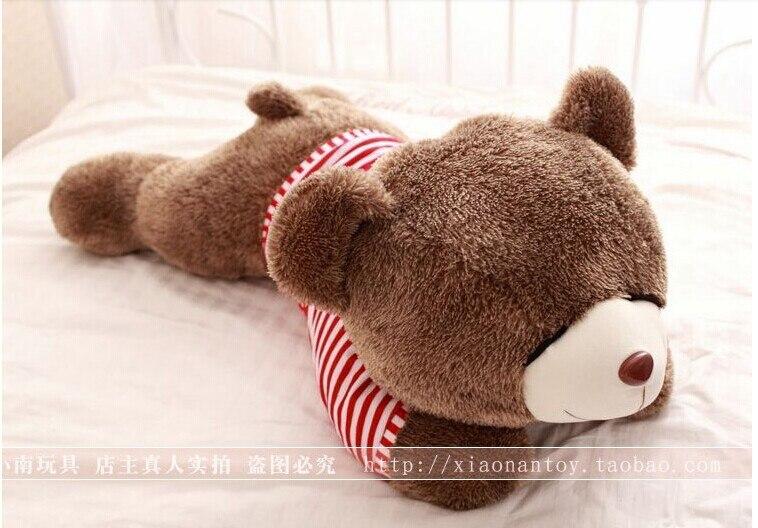stuffed animal 80cm sleep teddy bear plush toy red stripes cloth teddy bear doll throw pillow gift w3168<br>