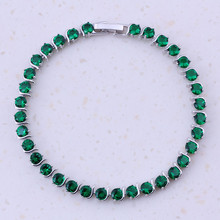 Sparkling Green Imitation Emerald Jewelry Silver Plated Color Fashion Women 18cm Charm Bracelets Party Trendy Accessories D0058