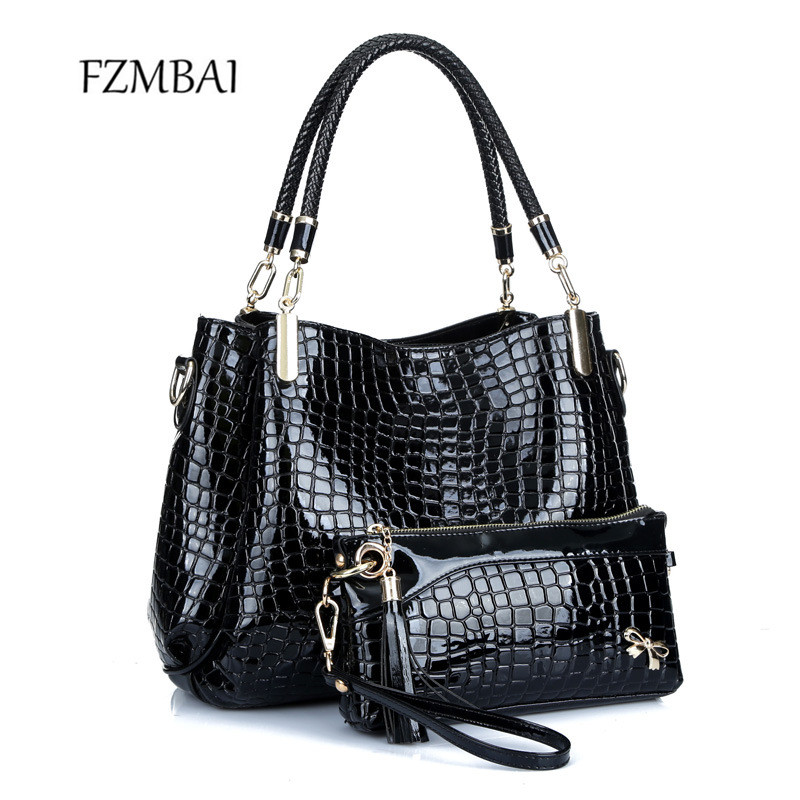 2017 Womens Crocodile Grain Single Shoulder Bag Euroamerican Style Tote Bags with Purse<br>