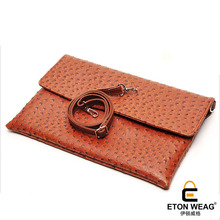 ETONWEAG Brands Ostrich Leather Crossbody Bags For Women Messenger Bags Orange Luxury Clutch Bag Document Day Clutches Wristlet(China)