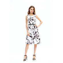 Women's dress 2017 Dress Sleeveless cotton Round Neck a-line vestidos Floral Dresses Pattern Printed Casual Short dresses