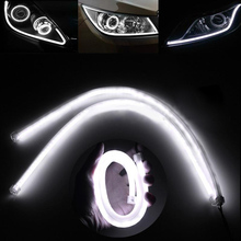 New 2pcs 60cm 12V White LED Car DRL Daytime Running Lamp Flexible Soft Tube DIY Strip Light for Auto Decorative Light