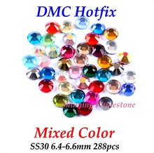 DMC Mixed Color SS30 6.4-6.6mm Glass Crystals Hotfix Rhinestone Iron-on Rhinestones Shiny DIY Garment Bag With Glue
