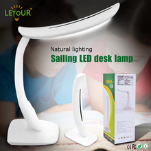 LED Table Lamp Touch Sensitive 3 Dimmer Levels 3W Folding Reading Desk Lamp for Bedroom USB Rechargeable Battery 5V 0.5A