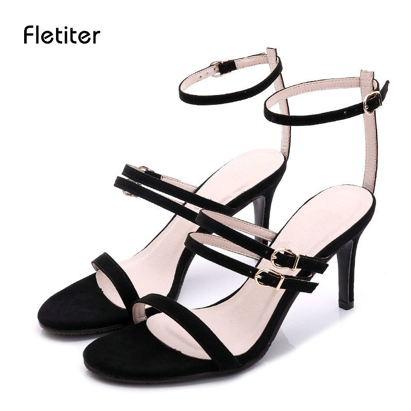 Fletiter 2018 Sandals Women Summer Gladiator Women Shoes Sexy Peep Toe Women Cuts Outs Black Sandals Shoes Woman Ladies Sandals<br>