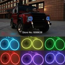 2pcs Super bright 7 color RGB LED Angel Eyes Kit with a remote control car styling for Land Rover Defender 2004 - 2016
