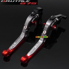 Motorcycle Accessories Adjustable Folding Extendable Brake Clutch Levers fits For MV AGUSTA Brutale 675 Titanium+RED