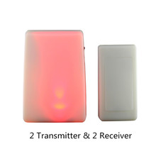 2 Transmitter & 2 Receiver  Colorful Changeable Light Flash 16 song 3 mode music Wireless Doorbell Door Chime for Deaf/Old men