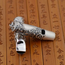 S990 wholesale sterling silver pendant Antique Silver whistle retro style cross couple models can be sounded(China)