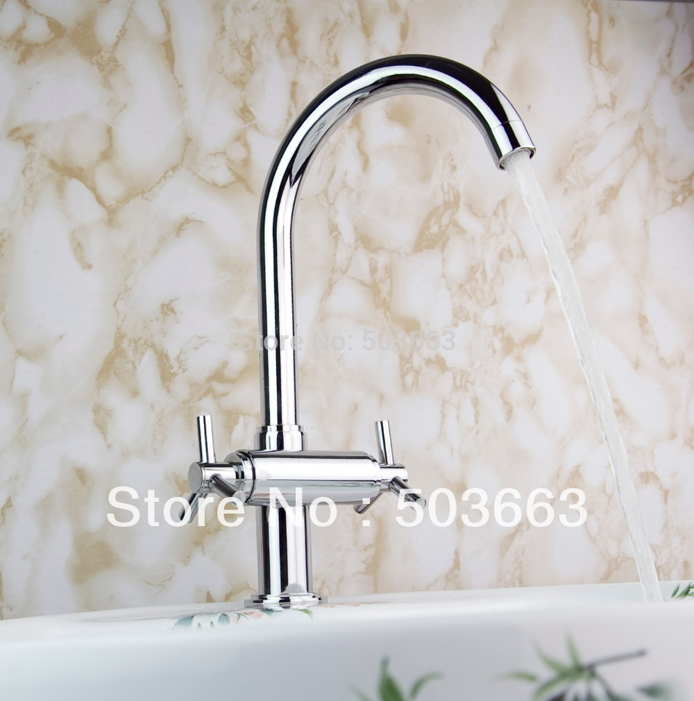 New Wholesale Double Handle Kitchen Swivel Basin Sink Vessel Faucet Vanity Faucet Brass Mixer Tap Chrome Crane S-8509<br><br>Aliexpress