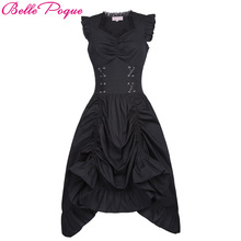 Belle Poque Women Sleeveless V-Neck Lace-up Corset Ruffle Dress 2017 Retro Vintage Steampunk Black Punk Gothic Victorian Dress(China)
