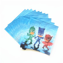 20pcs/lot PJ mask Paper Napkin Cartoon Theme Party For Kids Happy Birthday Decoration Theme Party Festival Supply