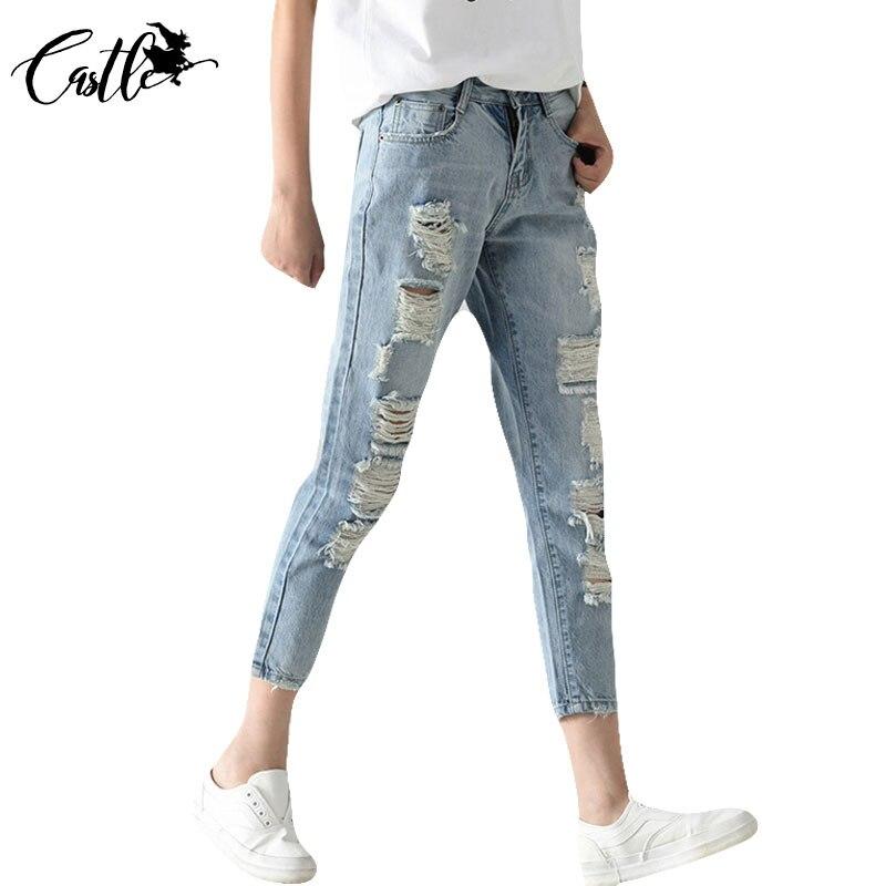 New Denim jeans pants women hole ripped designer plus size 26-31 jeans woman trousers fashion Autumn 2017 summer denim pantsОдежда и ак�е��уары<br><br><br>Aliexpress