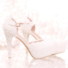 White Lace Flower Bridal Shoes High Heel Round Toe Fashion Wedding Pumps with Ankle Straps Women Sandals Bridesmaid Shoes(China)