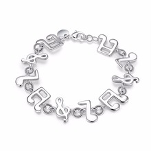 20cm Music Note bracelets Child Girl's Jewelry 925 stamped silver plated bangles Bracciali Pulseira de Prata(China)