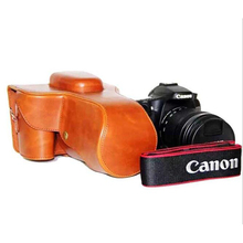 lightweight Handmade Brown Genuine PU Leather Oil Skin Camera  Bag Cover For Canon EOS 70D 60D camera Case