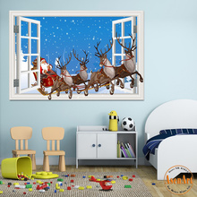 3d Window Decal Wall Stickers Santa Claus with Deer Merry Christmas Decoration Home Decor Decal Mural Art Vinyl Wallpaper