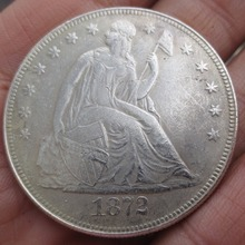 1872-CC Seated Liberty Silver Dollars One Dollar Coins Retail(China)