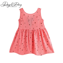 DAVYDAISY Summer Baby Girl Dress Cotton Sleeveless Lovely Heart Print Leakage Back Princess Dresses Girls Clothing WD-092(China)
