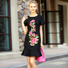 Black Mermaid Dresses European Style Fashion Short Puff Sleeve Women 2017 Retro Embroidery Topshop Soft New Arrival Casual Dress