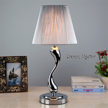 Simple modern stainless steel iron wire drawing bedroom lamp dimming LED  creative personality warm bedlamp