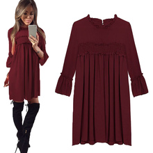 Buy Patchwork Ruched Pleated Chiffon Dress Women 2017 Spring Fashion Flare Long Sleeve Loose Black Red Dress Casual Party Dresses for $9.80 in AliExpress store