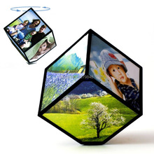 MAGIC CUBE REVOLVING PICTURE PHOTO FRAME CUBE MULTIPLE PICTURE FRAME    360 ROTATING REVOLVING MULTI PICTURE PHOTO FRAME CUBE