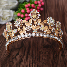 Baroque Vintage Large Gold Color Leaf Hair Accessories Beauty Rhinestone Bridal Tiara And Crown Wedding Queen Prom Pageant Crown