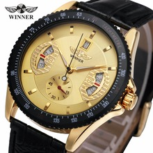 2017 WINNER Men Fashion Mechanical Wristwatch Leather Strap Sub Dial Date Display Tachometer Top Luxury Design Watch + GIFT BOX(China)