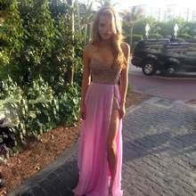 Fashion Icon Lavender Prom Dress with Shiny Beading Crystals A-line Floor Length Long High Side Slit Chiffon Prom Dress To Party
