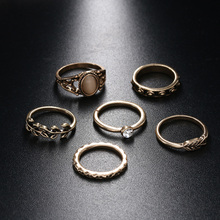 6PCS/Set New Bohemia Vintage Leaf Ring Unique Carving Tibetan Gold Color  Boho Ring Sets for Women  Gifts