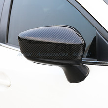 New Carbon Fiber Look Rearview Mirror Cover Trim for Mazda 2 Demio 2015 2016 2017(China)