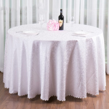 Gorgeous Wedding decoration Jacquard embroidery white Round Table Cloth Satin Covers Vintage Large size Bridal Table settings(China)