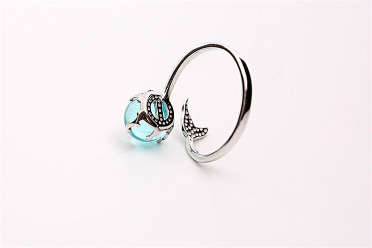 100% 925 Sterling Silver Blue Crystal Mermaid Bubble Open Rings