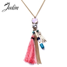 JOOLIM Jewelry Wholesale/ Hot Pink Tassel Long Pendant Necklace Factory Supply Free Shipping Indian Jewelry(China)