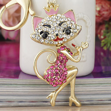 Dalaful Grace Crown Lipstick Cat Lady Crystal HandBag Pendant Keyrings Keychains For Car key Chains holder for women K170