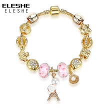 Buy ELESHE Fashion Jewelry Rose Gold Charm Bracelets Women Snake Chain Heart Bracelets Bangles DIY Crystal Beads Pulseras Gift for $4.22 in AliExpress store