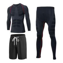 3pcs/set Mens' Sportswear Compression Tight Tracksuit for Men Fitness Gym Sport Suit Jacket Long Sleeve Shirt Pant Loose Shorts